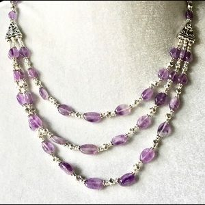 Jewelry - NEW Amethyst and Tibetan silver beaded necklace